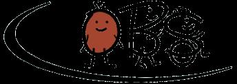 Logo der Oswald-Berkhan-Schule - Die Buchstaben sind zu Strichmännchen erweitert, wovon das 'S' sogar im Rollstuhl sitzt