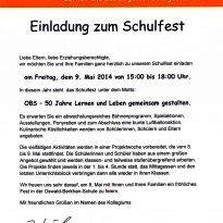 Einladung zum Schulfest am 09. Mai 2014